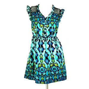 BeBop Geometric Button-Up Mesh Hearts A-Line Dress